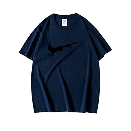 Camisetas geniales para Hombres, Camisetas Casuales de Manga Corta para Parejas, Camisetas de Pesca para Hombres, Azul Marino M