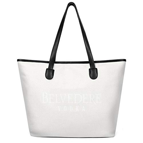 Lady Shopping Essential Everyday Tote Bag Belvedere-Vodka-White Casual Shoulder Purse Multipurpose Foldable Canvas Book Tote