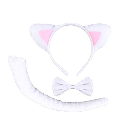 KIRALOVE Disfraz de Gato Blanco - Diadema - Disfraces de Mujer - Halloween - Carnaval - Orejas - Cola - Mariposa - Adultos - niña - Idea de Regalo Original