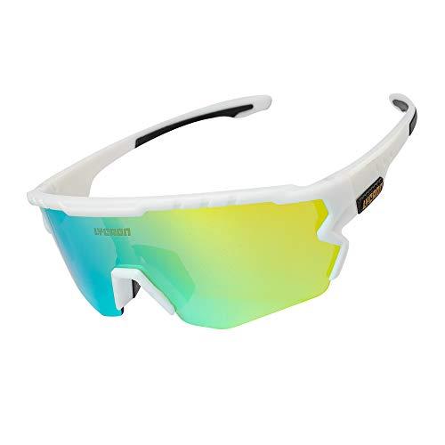 Fahrradbrille Sportbrille Radsportbrille, Half-Frame-Fahrbrille mit 3 Wechselgläsern, UV-Schutz-Reitbrille Für Skifahren/Laufen/Radfahren/Golf (Golden Lens & White Frame)