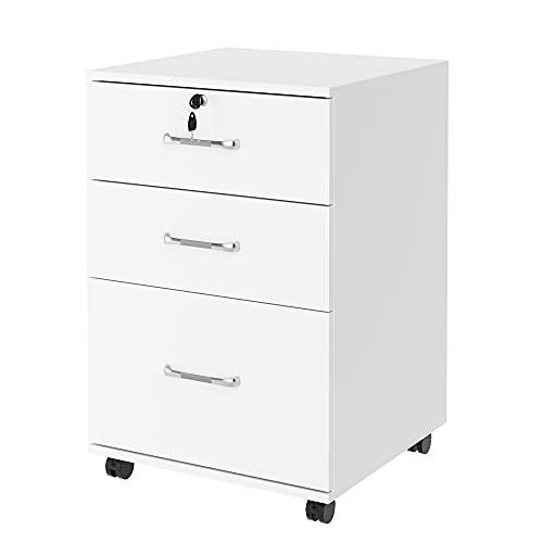 Mueble Archivador Móvil Cajonera Oficina Organizador para Documentos Archivos con 4 Ruedas 3 Cajones Cerradura de Madera Blanco 45x44x68.5cm ✅