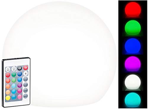 Lunartec Solarkugelleuchten: Solar-LED-Leuchtkugel mit Fernbedienung, RGBW, 60 Lumen, IP67, Ø 20 cm (Solarkugellampe)