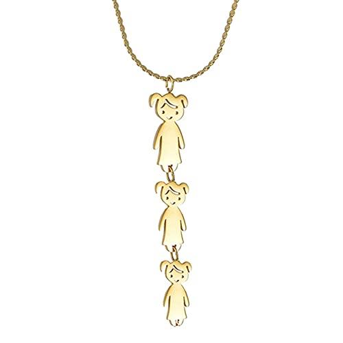 MIKUAM Collar Collares con Colgante de Nombre Grabado para niños Personalizados, Acero Inoxidable Dorado, niño, niña, Hijo, Hija, Collar Familiar, Regalos para niños