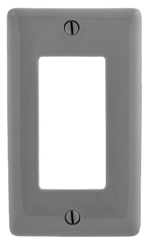 Bryant Electric NPJ26GY Wallplate, Nylon, Mid-Sized, 1-Gang, 1 Decorator/GFCI, Gray
