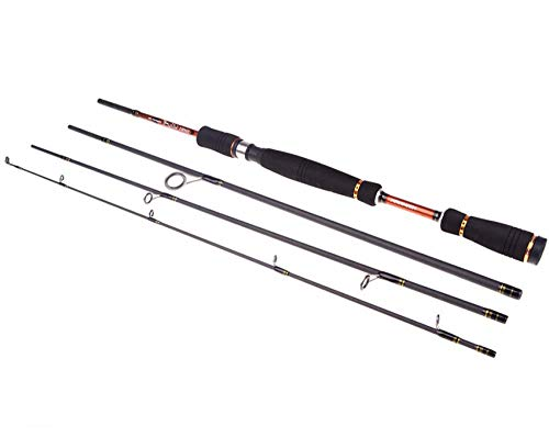 Hayandy 2.1m 2.4m 2.7m Spinning Angelrute 4 Sektionen Spinning Carbon-Rod Bass Medium Hard Lure-Black_2.7m (Color : Black, Size : 2.1m)