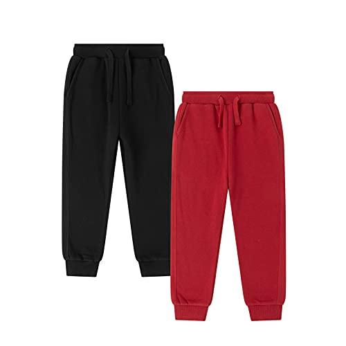 Amomí Pantalón de chándal Niño Pantalón de Deporte Niño Pantalón Largo Rizo Niño 12 Años 100% Algodón (12 Años, Rojo+Negro)