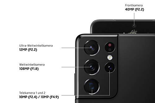 Samsung Galaxy S21 Ultra 5G, Android Smartphone ohne Vertrag, Quad-Kamera, Infinity-O Display, 128 GB Speicher, leistungsstarker Akku, Phantom Black - 3