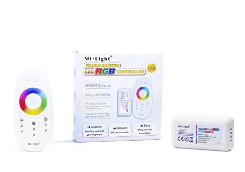 KingLed- Mi-Light KIT Contrôleur RGB + Télécommande 4 Zones RF tactile, DC 12V-24V, 2.4GHz WiFi Sans Fil, FUT025, choix infini de couleurs, code 0618