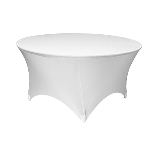 GFCC 5FT White Round Stretch Tablecloth 60 Inch Spandex Tablecloth Elastic Table Cover for Wedding Party Restaurant Fitted Table Cloth