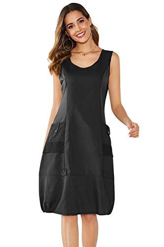 Yidarton Damen Kleider Strand Elegant Casual A-Linie Kleid Ärmellos Sommerkleider (M, Schwarz)