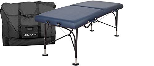 """OAKWORKS Portable Massage Table, BOSS Package, Professional Massage Bed with Field Feet, Carry Case, Sturdy,29"""" and 31"""" Wide, Made in USA. (Royal Blue, 31"""")"""
