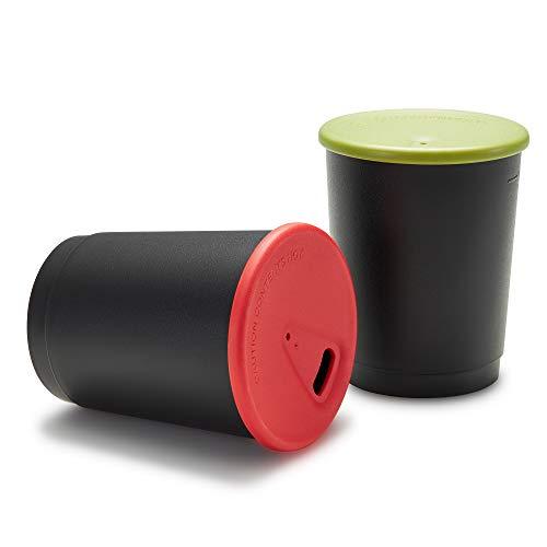achilles Coffee-to-Go-Becher 4er Set 330ml BPA-frei LFGB geprüft Mehrweg-Becher Trink-Pfand-Becher wiederverwendbarer Kaffee-Becher Spülmaschinenfest Becher in schwarz Deckel in verschiedenen Farben
