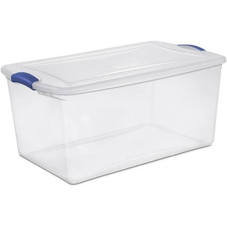 Sterilite 66 Quart Latch Box- Blue Morpho, Case of 6