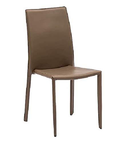 LoryArreda.Com 4 Sedie in Metallo impilabili rivestite in Ecopelle Tortora Cucina Ristorante Pub Sala da Pranzo Salotto Studio