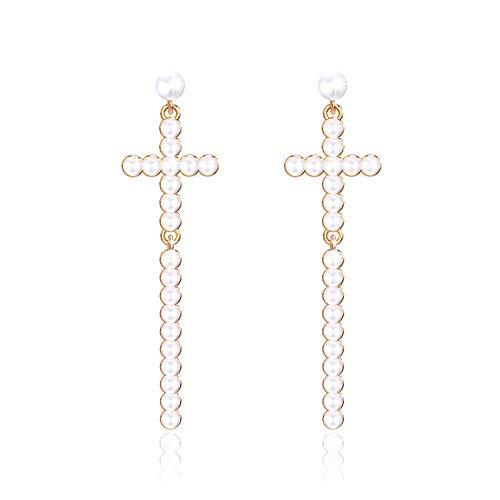 Pendientes Colgantes Cruz Perlas Blanco Mujeres