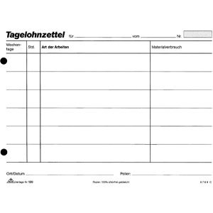 RNK Lohnbuch Gehaltbuch A5 quer weiß Papier 100 Blatt