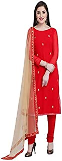 Monika Silk Mill Women's Georgette Embroidered Semi Stitched Salwar Suit (Red Color_MSAM513)