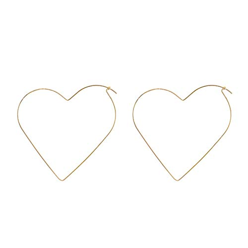 QIN Fashion personality exaggerated hollow and simple big heart pentagon star hoop earrings jewel women street fashion decoration