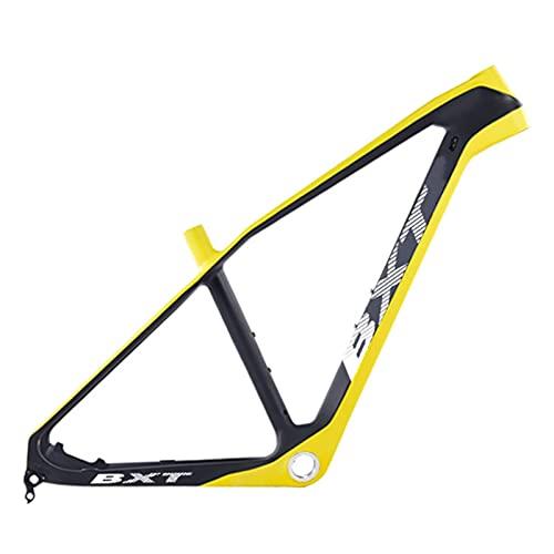T800 Ultralight Kohlefaser Mountian Bike-Rahmen 27.5er BSA / PF30 MTB Fahrradrahmen 160mm Scheibenbremse Bike-Frames-Klemme 37mm (Color : Half Yellow, Size : 20 inch Glossy BSA)