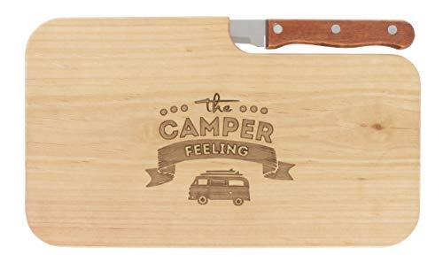 Brotzeitbrett Jausenbrett Holz Erle Messer Camper Feeling Geschenk Männer Geschenk Frauen Schneidbrett Holz Geschenkidee für Ihn Geschenkidee für Sie