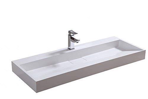Wandwaschbecken Aufsatzwaschbecken BS6001 - Breite wählbar, Breite:120cm - ohne Armaturloch