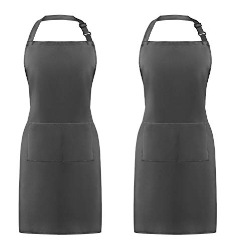 Syntus 2 Pack Adjustable Bib Apron Waterdrop Resistant with 2 Pockets Cooking Kitchen Aprons for Women Men Chef Grey