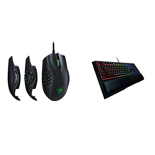 Razer Naga Trinity Gaming Mouse & Ornata Chroma Gaming Keyboard: Hybrid Mechanical Key Switches - Customizable Chroma RGB Lighting - Individually Backlit Keys - Detachable Plush Wrist Rest