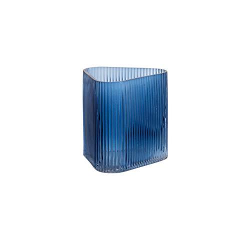 Jarrones para flores Azul transparente vidrio jarrón sala de estar hogar comedor mesa de café mesa oficina decoración de escritorio florero rayado esquina redondo triangle jarrón Jarrones para decorac
