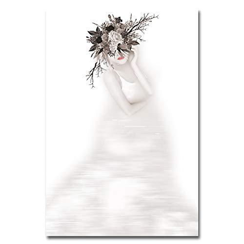 No frame Canvas Schilderij Moderne Naakt Bloemen Vrouwen En Meisje Decoratieve Wall Art Pictures Voor Woonkamer Poster En Prints 60x90cm