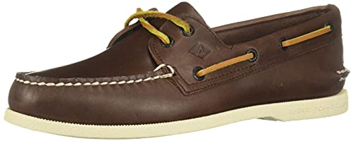 Sperry Mens A/O 2-Eye Burnished Boat Shoe Dark Brown/Tan Size 11 M