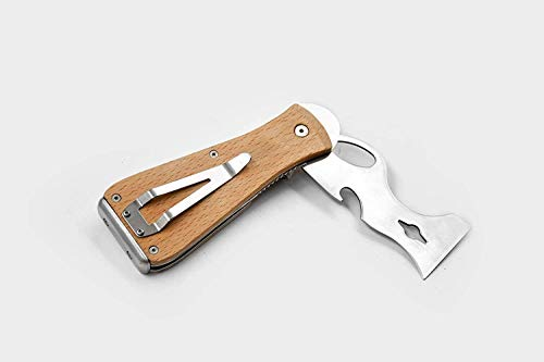 ROLLINGDOG Folding 9 in 1 Painters Tool with Quality Finish Beech Wooden Handle, Strong Stainless Steel Blade, Solid Hammer End Cap,Convenient Belt Clip, Practical Handy Tool for Decorators