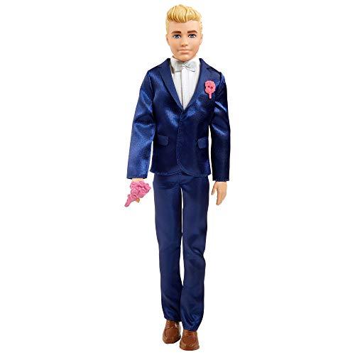 Barbie Bambola Ken Sposo Biondo, con Smoking, Scarpe e 5 Accessori, Giocattolo per Bambini 3+Anni,GTF36