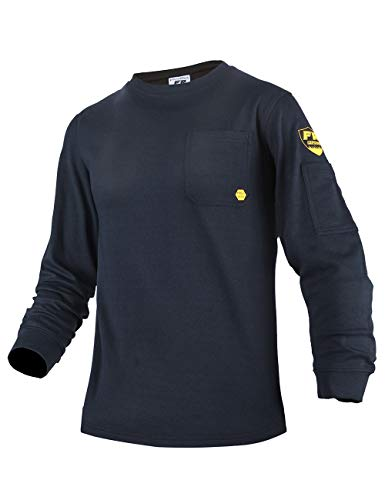 PTAHDUS Men's Flame Resistant Long Sleeve Henley Shirt, 7.1 Ounce 100% Cotton FR Workwear Clothing for Men (Round Neck-Navy Blue, 2XL)