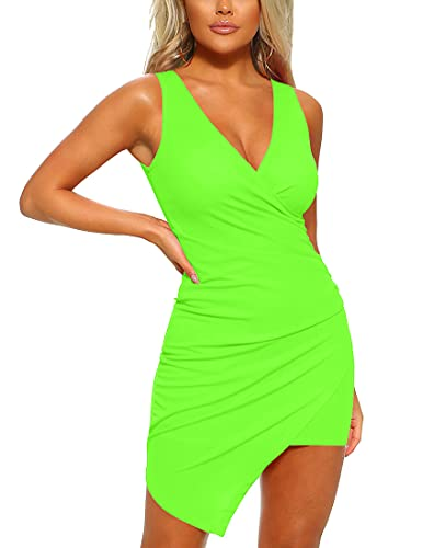 Mizoci Women's Casual Sleeveless Ruched Cocktail Party Dresses Bodycon Mini Sexy Club Dress,Small,Light Green
