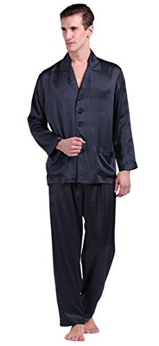 LilySilk Seide Pyjama Herren Nachtwäsche Unifarbe Elegant 22 Momme (Large, Blau) Verpackung MEHRWEG