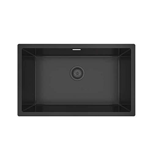 KORVO Undermount Kitchen Sink,Gloss Dark Grey Ceramic Coating with NanoTek 1.2mm Stainless Steel Single Bowl T-304 Stainless Steel Single Bowl Wet Bar , Black - 70 x 43 x 21.5 cm