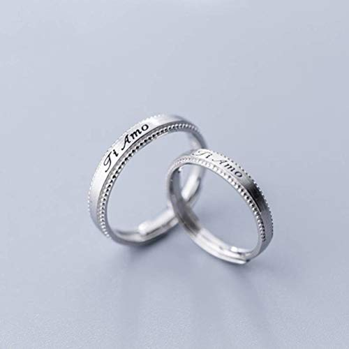 WOZUIMEI S925 Silver Rings Women's Japanese Style Opening Rings Personalized Lettering in English Couple Rings Simple JewelryMen \u0026amp; Women a Pair, Opening Adjusted