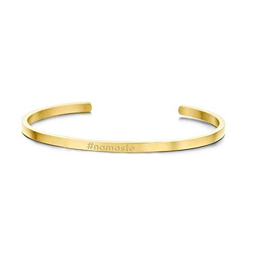 deinzigartig Statement-Armreif mit verschiedenen Hashtags - # - Edelstahl - Gold/Rosegold/Silber - Schmuck - Frauen & Mädchen (Gold - #Namaste)