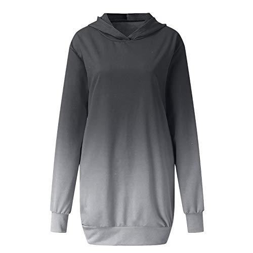Hniunew Damen Kleidfarbstoff Binden Hoodie Langarm Sweatshirts Kapuzenpullover Tops...