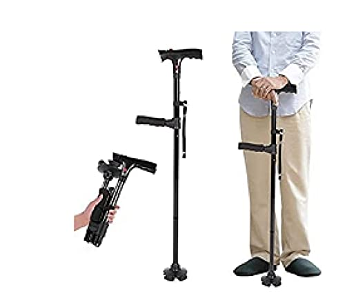 Bastón Inteligente para Caminar con LED, bastón de Senderismo, Punta de Goma Antideslizante Bastones para Caminar Plegables con Alarma y Ajustable,para Mayores con Artritis discapacitadas y Mayores