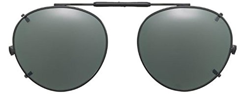 Visionaries Polarized Clip on Sunglasses - Round - Black Frame - 47 x 42 Eye