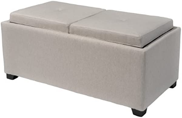 Christopher Knight Home 230502 Devonshire Light Grey Fabric Tray Ottoman