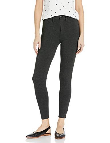 Daily Ritual Ponte Faux-5 Pocket Flat-Front leggings-pants, Charcoal, M