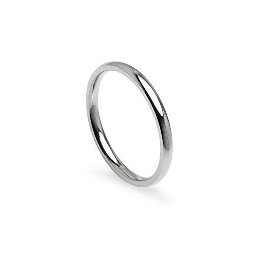Anillo de boda unisex de 2 mm, acero inoxidable, ajuste cómodo, con bolsa de regalo