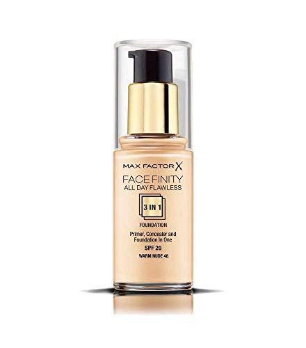 Max Factor Facefinity All Day Flawless 3 in 1 Foundation in Warm Nude 48 – Primer, Concealer & Foundation in einem – Für ein perfekt mattiertes Finish – 1 x 30 ml