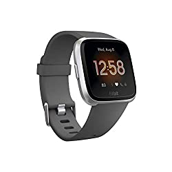 Image of Fitbit Versa Lite Smartwatch, Charcoal/Silver Aluminum, One Size (S & L Bands Included): Bestviewsreviews