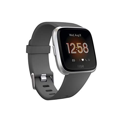 Fitbit Versa Lite Smartwatch, Aluminio carbón/Plata, Talla única (Correas S y L Incluidas)