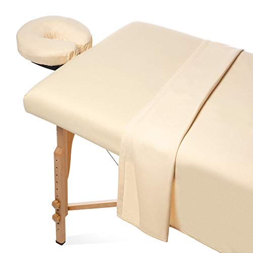 Saloniture 3-Piece Flannel Massage Table Sheet Set - Soft Cotton Facial Bed Cover - Includes Flat and Fitted Sheets with Face Cradle Cover - Natural