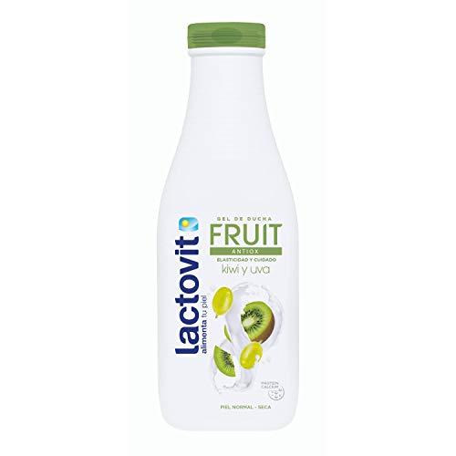 Lactovit - Gel de Ducha Hidratante Fruit Antiox Elasticidad y Cuidado con Kiwi y Uva, para Pieles Normales y Secas - 600 ml