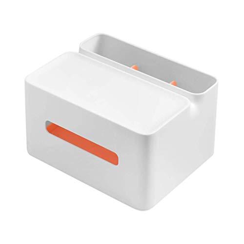 Jszzz Couverture Tissue Box Plastique Multi-Fonctions de Bureau Organisateur de Stockage de Cas for Le Maquillage cosmétiques Pen Crayon Télécommande Téléphone (Color : White)